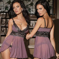 New Fashion Women Lace See-Through 2Pcs Lingerie Nightwear Underwear Sexy Soft V-Neck Sleepwear BabyDoll Dress G-string