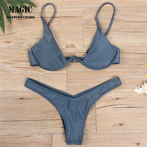 Push up beach wear swimsuit women swimsuit split bikini bandage swim suit With chest pad and underwire