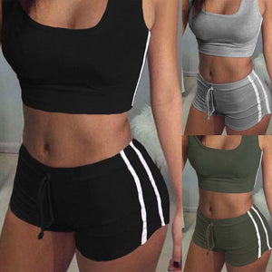 Women Yoga Sets Running Sports Crop Top + Shorts Set Fitness Gym Running Tracksuit Elastic Short Pants Sportwear Clothing
