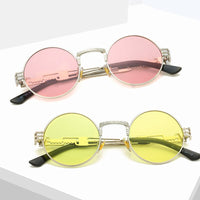 AIVERLIA Retro Steampunk Sunglasses Men Women Round Steam Punk Sun Glasses Metal Frame Eyewear UV400 Gafas De Sol AI45