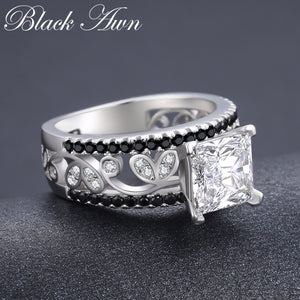 New Arrival Authentic 925 Sterling Silver Women Rings White/Black Zirconia 925 Silver Rings Fine Jewelry Gift Bague C020