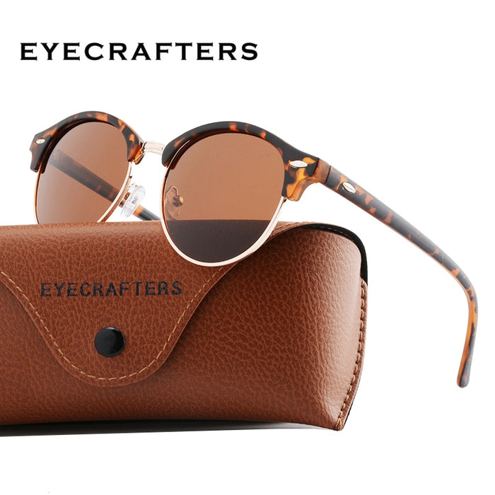 Luxury Tortoise Brown Polarized Round Sunglasses Mens Womens Club Round Driving