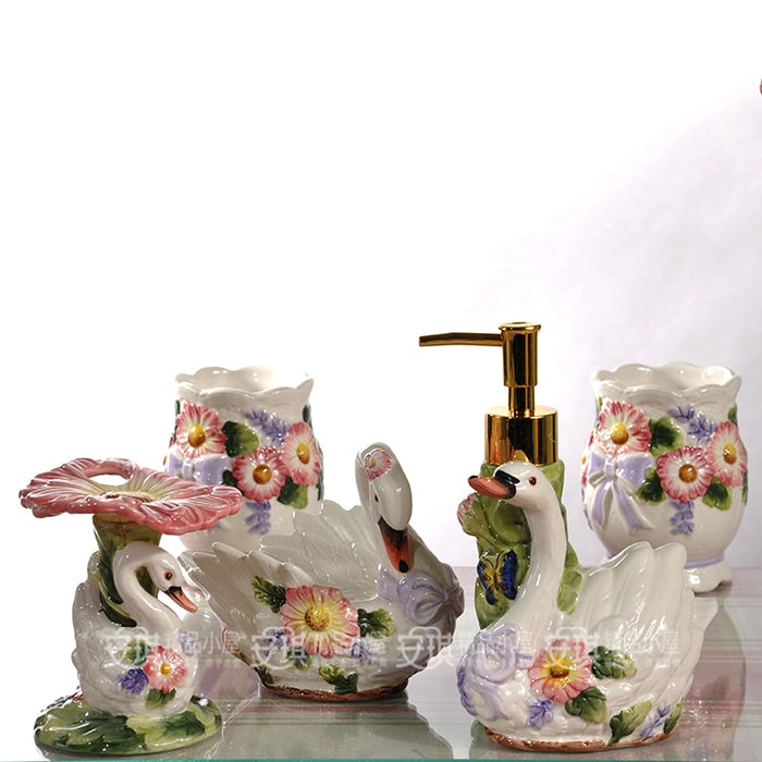 white ceramic flowers swan toothbrush holder soap dish bathroom accessories set kit wedding gifts