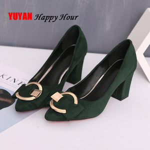 Sexy High Heels Women Pumps Pointe Shoes 2020 Spring Women Square Heel Shoes Woman Shoes High Heel 7.5cm A649