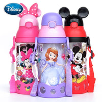 Disney children press the cup handle baby with straw leak-proof plastic cup flip student resistance to falling kettle