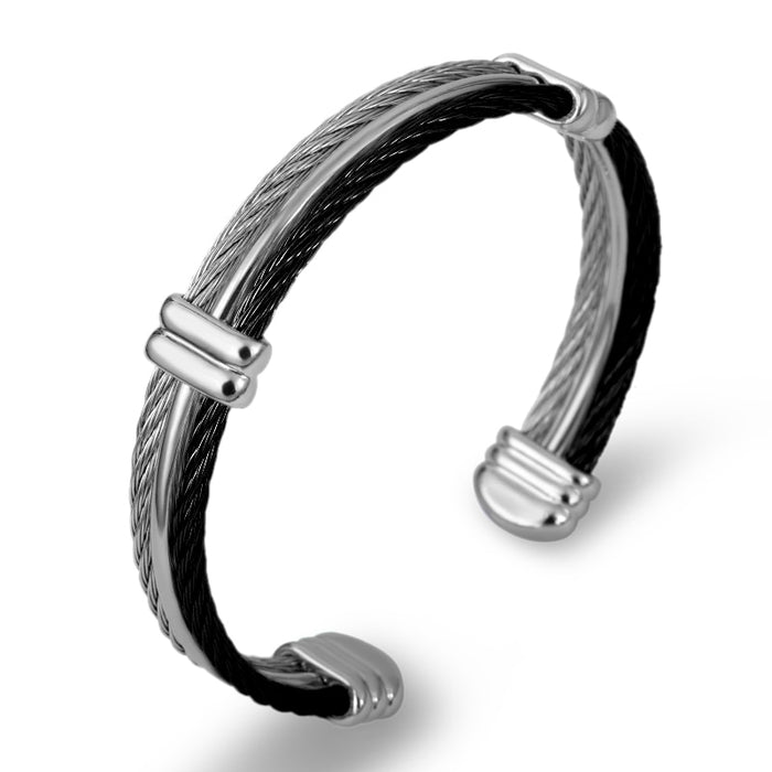 Brand  Punk Design Twist Wire Cuff Bracelet For Men Jewelry Stainless Steel Stretch Cable Charm Bangles Men Bijou Accessory Gift