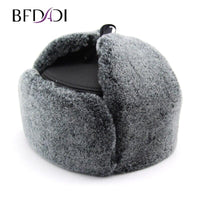BFDADI High Quality Mens Faux Fur Winter Hats Lei Feng hat With Ear Flaps Warm Snow Caps Russian Hat Bomber Cap 2019 hats