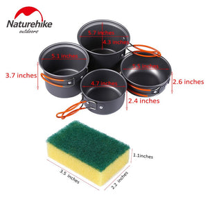 Naturehike Cooking Picnic Set New 2-3 Persons Outdoor Pot Sets Camping Cookware Portable Picnic Pot With Pan 4Pcs In One
