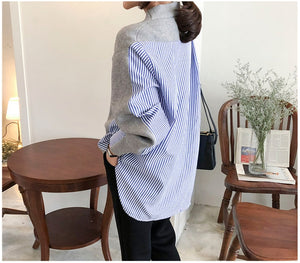 Colorfaith New 2019 Autumn Women's Sweaters Patchwork Srtiped Knitting V-Neck Cardigans Casual Single Breasted Loose Tops SW8161