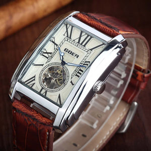 Relogio Masculino  Top Brand Luxury Skeleton Watches Men Leather Band Rectangle Automatic Mechanical Wrist Watches For Men  GOER