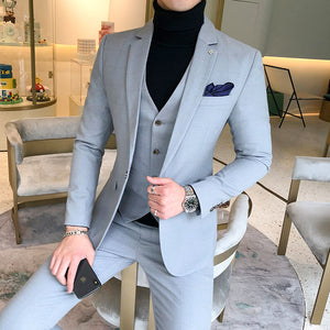 Size 5XL Men's Plaid Suit Sets 4 Colors Choose High-end Mens Business Wedding Party Dress Man Jacket with Vest and Pants