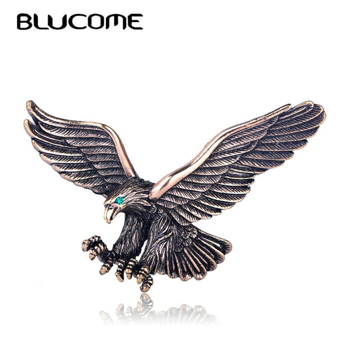 Blucome Vintage Antique Silver Color Jewelry Flying Eagle Brooch Men Boys Suit Scarf Accessories