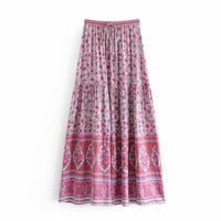 Pink Floral Print Boho Chic Bohemia Skirts Women Jasmine Maxi New Summer Skirt Women Beachwear Skirts Saia Female Faldas