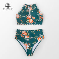 CUPSHE Green Floral Halter Bikini Sets Women Sexy High Waist Two Pieces Swimsuit 2020 Girl Boho Bathing Suits