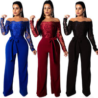 Elegant Off Shoulder Floral Lace Jumpsuit Women Sexy Sheer Long Sleeve Black Wide Leg Jumpsuit Christmas Party Playsuit Overalls