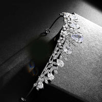 Women Luxury Tiaras Crowns Silver Leaves Pageant Prom Headpiece Bride Wedding Shining Rhinestone Hair Accessories Princess Crown