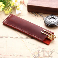 Handmade Genuine Leather Pen Bag, Rustic Leather Pencil Bag Holder Case, Vintage Retro Style Accessories For Leather Notebook