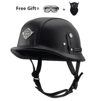 WWII Motorcycle Helmet vintage Half Face Helmet Retro German Chopper Cruiser Matte Black