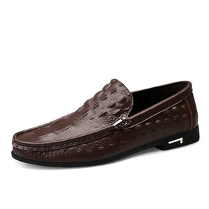 Shoes Men Loafers Leather Moccasin Crocodile Style Footwear Slip On Flat Driving Boat Shoes
