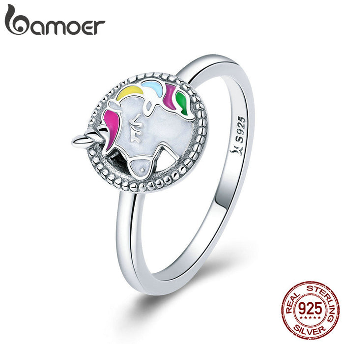 Trendy 925 Sterling Silver Colorful Animal Finger Rings for Women Fashion Wedding Engagement