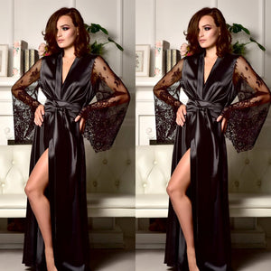 Hot New Sexy Lingerie Women Silk Robe Lace Long Sleeve Solid Loose Long Nightdress