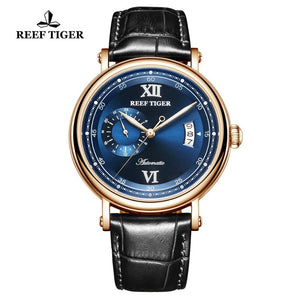 Reef Tiger/RT Luxury Watch Men Creative Watches 2019 New Rose Gold Automatic Watch Big Date Blue Analog Watch 5 Bar RGA1617-2