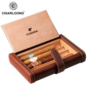 COHIBA Notebook Design Leather Travel Cigar Case Portable Cigar Humidor Holds 4 Cigars Made by PU Leather and Cedar Wood HH-136