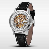 OUYAWEI Relogio Masculino Leather Belt Mechanical Men's Watch Carving Skeleton Steampunk