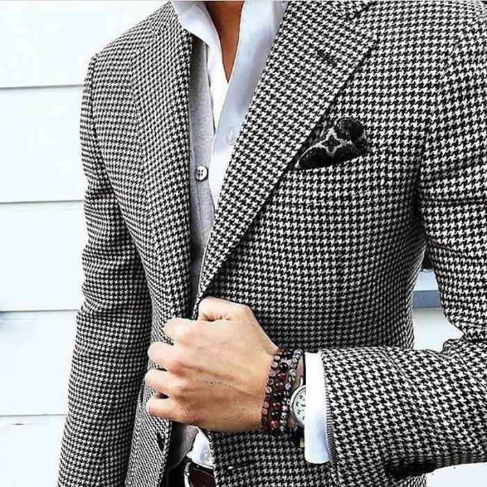 Mens Checkered Suit Houndstooth Custom Made Men Dress Suits,Tailored Casual Men Suits Weave