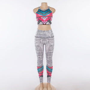 Women Yoga Sets Tracksuit Sexy Ensemble Gym Wear Running Clothing Bohemian Crop Tank