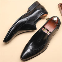 Genuine leather Men brogue Business Wedding banquet shoes casual flat shoes vintage