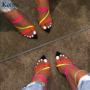Kcenid Summer new slippers sexy 2020 fashion sandals women open toe high heel women slippers slip on sandals size 12 women shoes