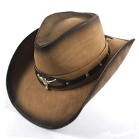 9 Style Women Men Western Fedoar Hat With Authentic Leather Roll Up Brim Dad Gentleman Lady Sombrero Hombre Jazz Caps