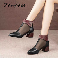 Zanpace Women Sandals Sexy High Heels Women Shoes Spring Summer Mesh Women's Sandals Office Work Block Heel Shoes Zipper Boots