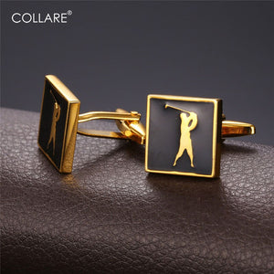 Collare Act of Golf Cufflinks For Mens Gold/Silver Color With Enamel Cufflinks Luxury Men Jewelry Cufflink High Quality C211