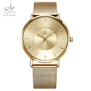 Shengke Top Luxury Brand Ultra Thin Fashion Black Women Watches New Ladies Clock Woman