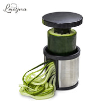 LMETJMA Manual Spiralizer Vegetable Slicer Stainless Steel Spiral Cutter With Cleaning Brush Zoodle Maker Kitchen Gadgets LK0005