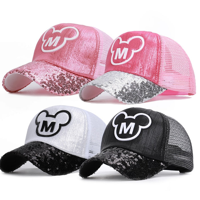 Baby Girls Hats Sequins Ear Girl Snapback Baseball Cap With Ears  Hip Hop Boy Pink Ear Caps