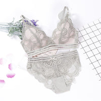 lingerie sexy bra set 3/4 cup wireless transparent panties underwear women set ropa interior intimates