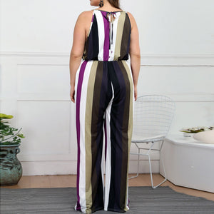 Fashion Womens Jumpsuit Casual Plus size Stripe Print Camis Sleeveless Loose Jumpsuit rompers female summer Jumpsuit 7.10
