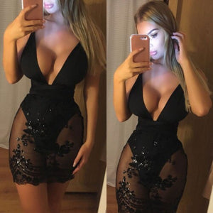 Womens Bandage Bodycon Sleeveless Evening Party Club Short Dress Sexy Dark V Neck