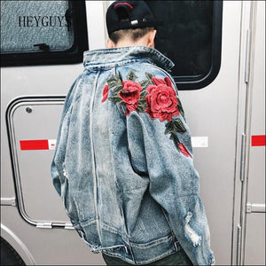 2018 Spring New Men's Clothing Denim Jacket 3D Rose Flower Embroidery Vintage Frayed Hole Coats High Street Hip Hop Outerwear