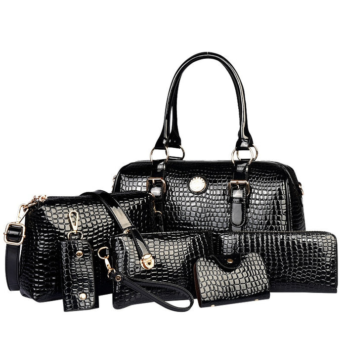 6 Pcs/Sets Women Handbags And Purses Crocodile Pattern leather Tote Shoulder Bags