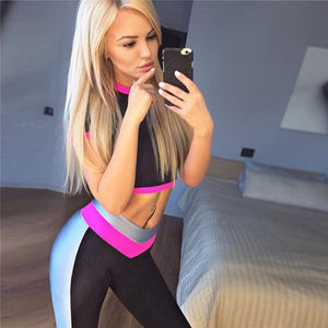 Sportswear for Women Sport Suit Female Yoga Set Tracksuit Sexy Fitness Workout Gym Wear Running Clothing Ensemble Pink Hit Color