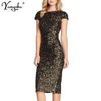 Sexy Black Gold Sequins Summer dress women Backless bodycon vintage dress elegant Night club Party Dresses vestidos robe femme