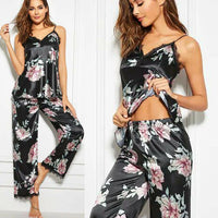 Pajamas For Women Sexy Sets Sleeveless V-Neck Top Long Pants Sleepwear Ladies Casual Black Floral Nightwear