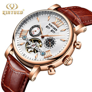 KINYUED Automatic Mechanical Watch Men Tourbillon Perpetual Calendar Skeleton Mens Wrist Watches Gold Business Relogio Masculino
