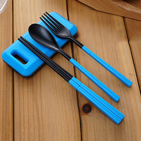 Portable Folding Outdoor Camping Hiking Tableware Dinnerware Set Cutlery Fork Chopsticks