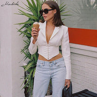 Macheda Sexy  Low Cut Bust Single Breasted V Neck Tops Women Navel Bare Long Sleeve Shirts For Lady Cropped Top 2019 New
