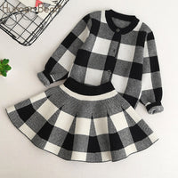 Humor Bear Autumn 2019 New Girls Clothing Sets Casual Long Sleeve Plaid Jackets+Skits 2Pcs Suits for Kids Set
